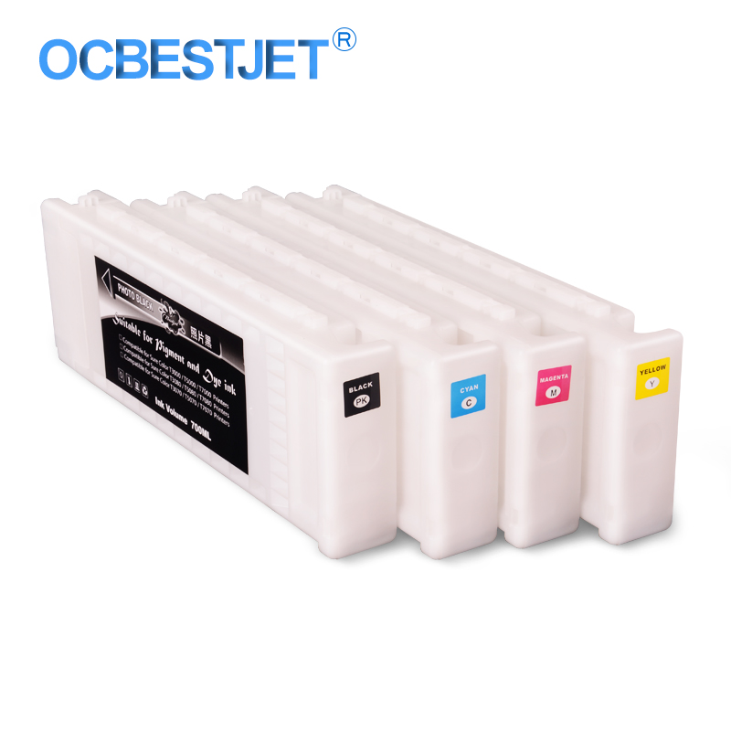 4Colors/Set T6891-T6894 Compatible Ink Cartridge Filled With 700ML Eco-Solvent Ink For <font><b>Epson</b></font> SureColor <font><b>S30670</b></font> Printer 700ML/PC image
