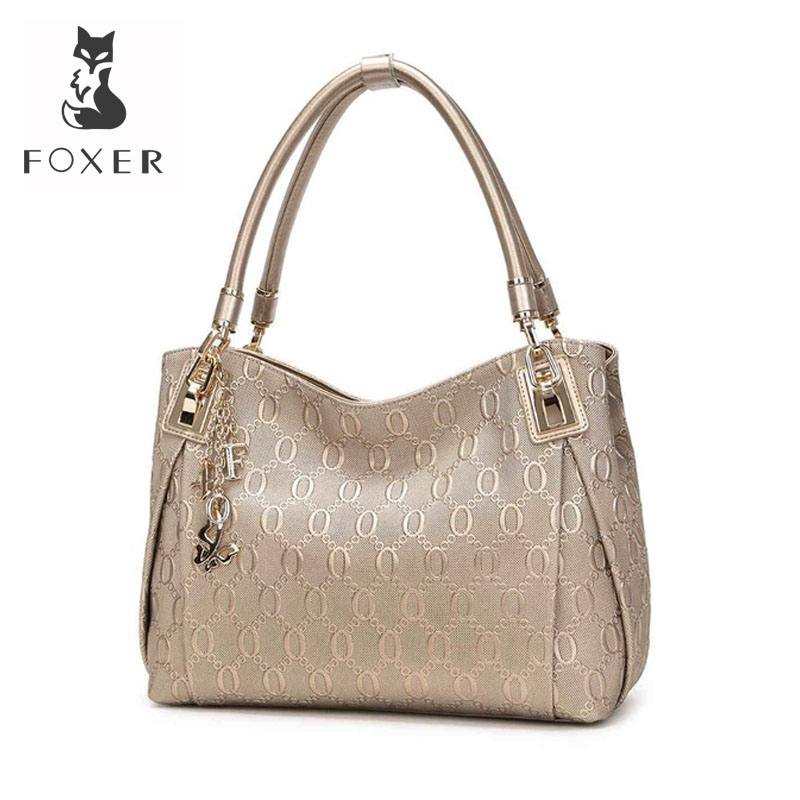 Foxer 브랜드 여성 암소 가죽 어깨 가방 패션 디자인 고품질 여성 핸드백 여성 핸드백 올려 놓 지갑-에서숄더 백부터 수화물 & 가방 의  그룹 1