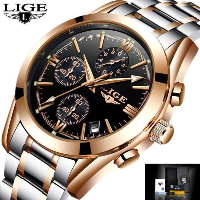 736eed020c3a1 LIGE Hommes Montres Top Marque De Luxe En Acier Plein Horloge Homme Sport Quartz  Montre Hommes