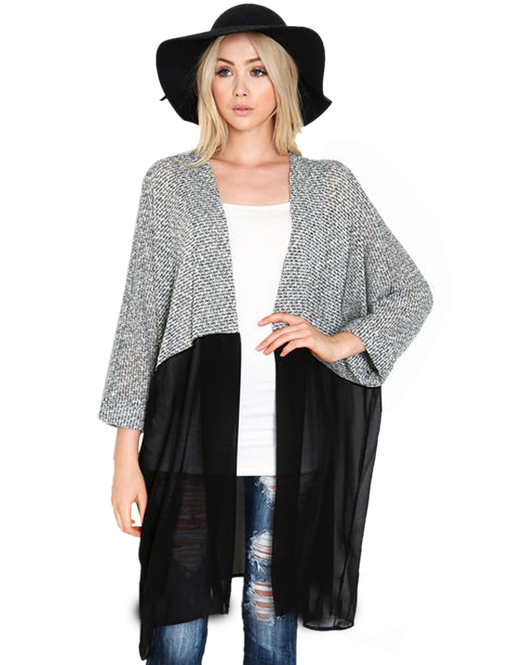 Knitting Patchwork Chiffon Cardigan Black Blouse Full Sleeve See ...