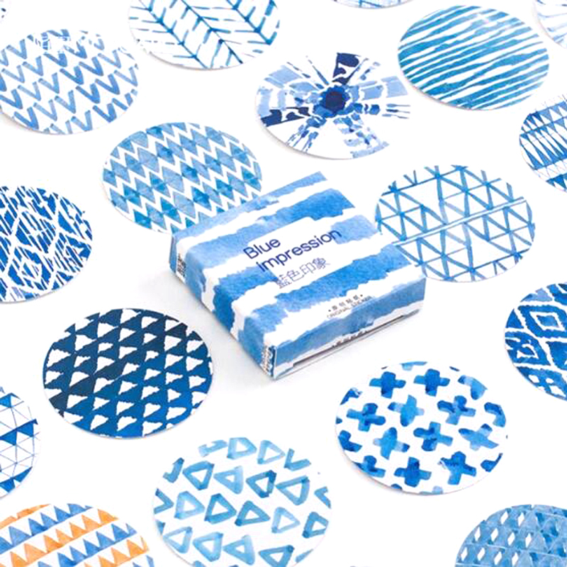 45PCS/box New Creative Blue Impression Paper Lable Stickers Crafts And Scrapbooking Decorative Lifelog Sticker Cute Stationery45PCS/box New Creative Blue Impression Paper Lable Stickers Crafts And Scrapbooking Decorative Lifelog Sticker Cute Stationery