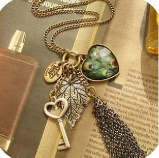 ZOSHI fashion vintage female long design peacock feather tassel necklace love key wholesale Pendants & Necklaces women jewelry