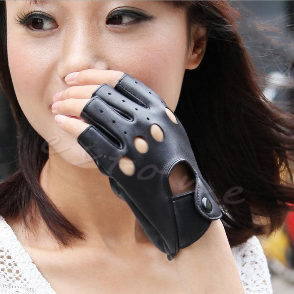 Hot! Women Faux Leather Half Finger Fingerless Black Fashion Gloves