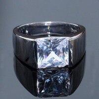 Виктория высокое качество Wide Band Кольцо для Для мужчин Модные украшения Soliatire 925 серебро заполнены Принцесса Белый CZ кольца для мужчин