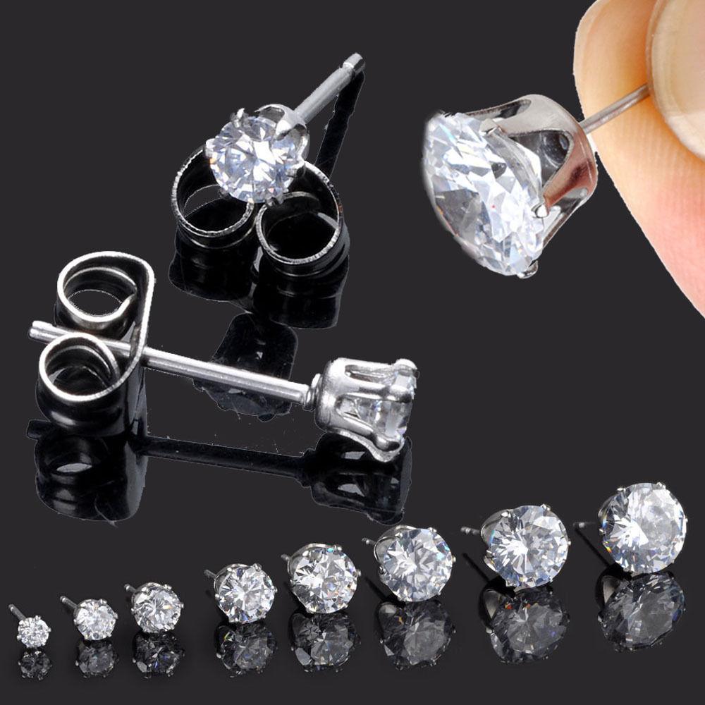 2Pcs Mens CUT CRYSTAL DIAMANTE Stainless Steel Clear Ear Studs Earrings
