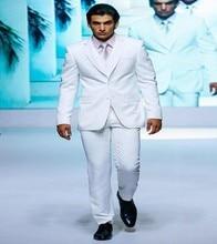 Classic Style Two Button White Groom Tuxedos Groomsmen Men's Wedding Prom Suits Bridegroom (Jacket+Pants+Vest+Tie) K:922