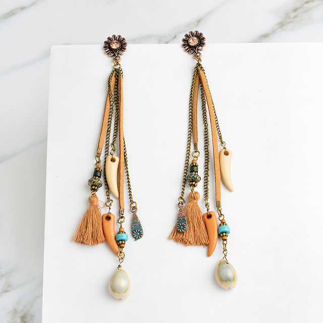 31d7ae15cbed80 Miss Zoe Summer Beads long chain brown tassels Drop Earrings Ethnic BOHO  Charm Fashion Bronze Ear jewelry Gift for Women girls