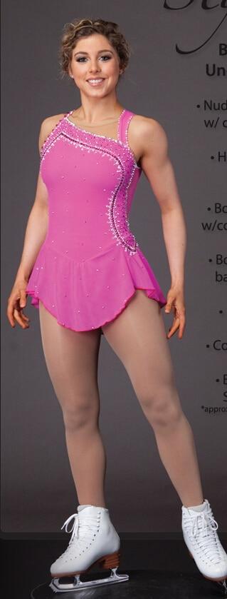 rosa skridskoåkningskläder för kvinnor varm försäljning anpassad konståkningskläder för flickor skridsko klänning konkurrens gratis frakt