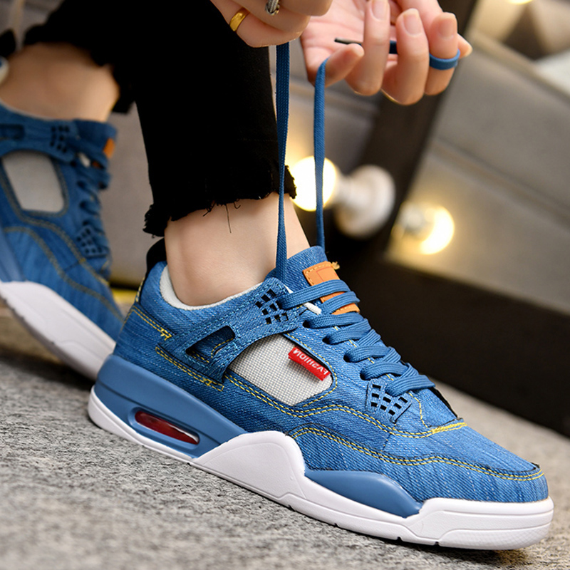 Denim Air Cushion Men s Shoes Sports and Leisure Pure Canvas Shoes Lovers Casual Shoes Large