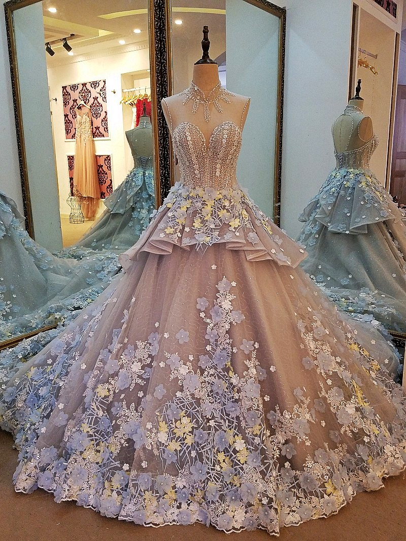 ls85209 abendkleider 3d blumen spitze lange grau korsett kleid ballkleid  vestidos de 15 anos robe de soiree echt fotos