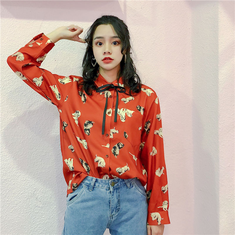 406ab861b12f5 2018 Vintage Women Autumn Chiffon Blouse Long Sleeve Cartoon Animal Print  High Quality Tunic Tops Girl s Shirts Top Red Lace Up-in Blouses   Shirts  from ...