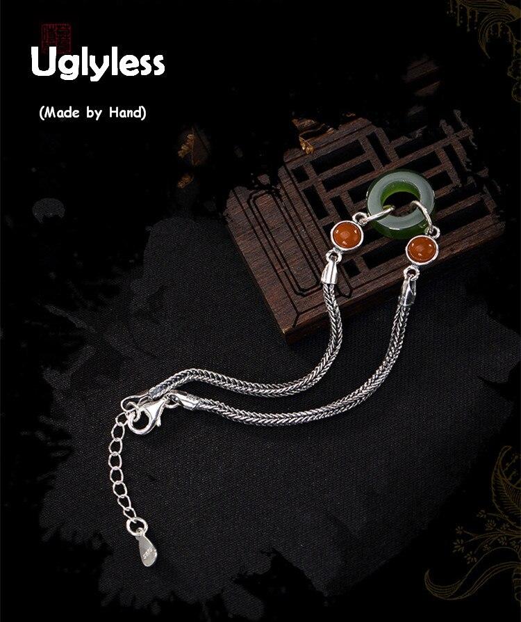 Uglyless S 925 Sterling Silver Bracelets Natural Jasper Ring Charms Bracelet Women Agate Beads Fine Jewelry Snake Chains Bijoux все цены