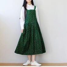 Женское вельветовое платье без рукавов длинное винтажное зеленое