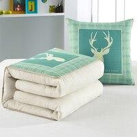 1 PC 110*150 cm Almofada Do Sofá de Verão Cobertores para Adultos Dois Usos Colcha de viagem Tecido Alces Impressão Verde Travesseiro para Casa Xadrez cobertor|Cobertores|   -