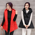 Europe 2016 Autumn Winter New Loose Large size Irregular Sleeveless Women Hooded Short Paragraph cotton Vest Jacket G1823