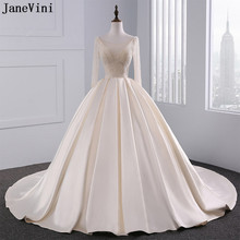 JaneVini Luxury Arabic Ball Gown Champagne Wedding Dresses Heavy Beaded See  Through Satin Plus Size Wedding Gowns Vestido Largo 5c1294d357f9