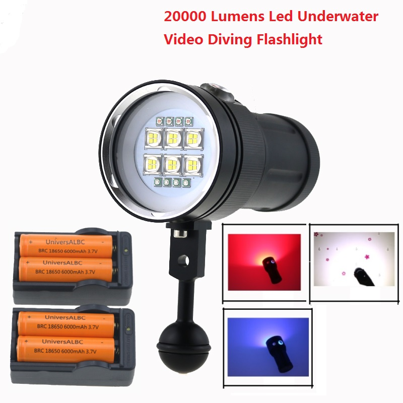 20000Lumen 6x 9090 LED White Light +4x Red Light+4x UV / Blue Light LED Torch Underwater Video Diving Flashlight + 18650 Battery sport car style 2 led white light flashlight keychain w sound effect red 4 x lr41