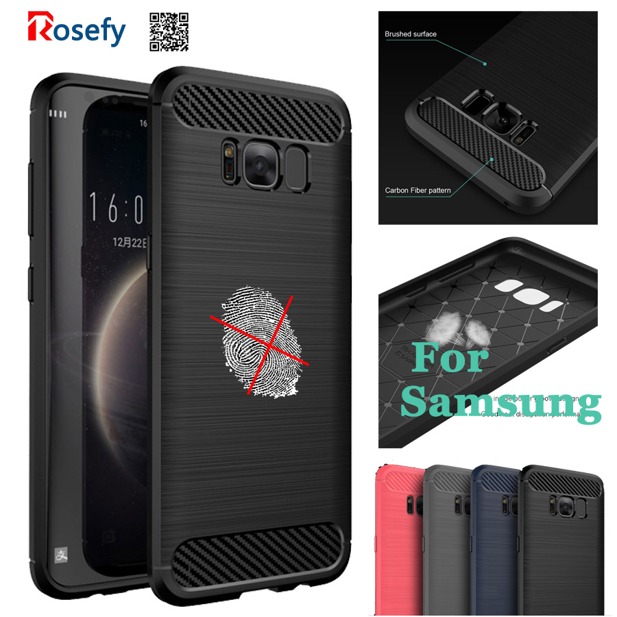 Carbon Fiber TPU Silicone Cover Case For Samsung Galaxy S8 Plus anti hit Shock proof Matte Frosted Brushed Shell S7 edge S6 Edge