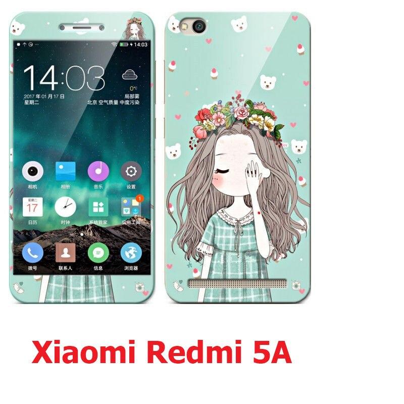 Xiaomi Redmi 5A cas de silicium, de luxe en silicone souple tpu avec Couleur trempé protecteur d'écran en verre pour xiaomi redmi 5a premier