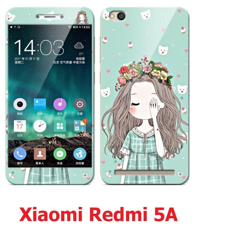 Xiaomi Redmi 5A case silicon, luxury soft silicon tpu with Color tempered glass screen protector case for xiaomi redmi 5a prime