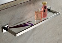 SUS 304 stainless steel Mirror Surface Modern Products Solid Brass Chrome Finished Glass shelf SM012