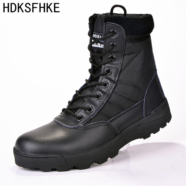 Winter Autumn Mens Boots Quality Special Force Tactical Desert Combat Ankle Boats Army Work Shoes Leather Snow Boots
