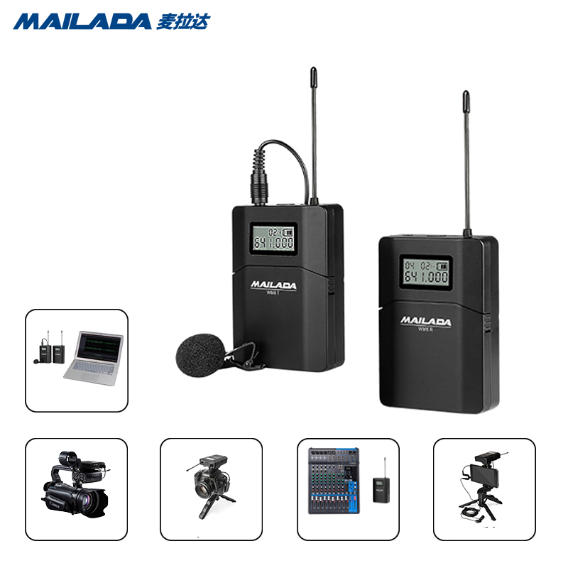 Mailada WM8 UHF Wireless Microphone System Studio Video Recording Vlogging Lavalier Lapel Mic for iPhone DSLR