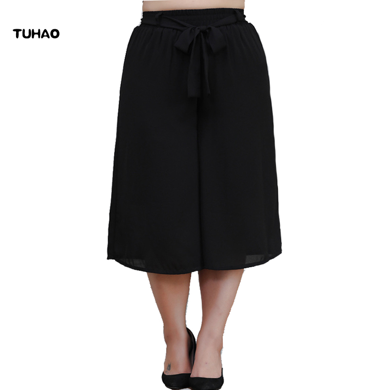 TUHAO 2018 Summer Women Chiffon   Wide     Leg     Pants   Plus Size 10XL 8XL 6XL Bow Tie Elastic Waist Loose   Pants   Trousers for Female MS68