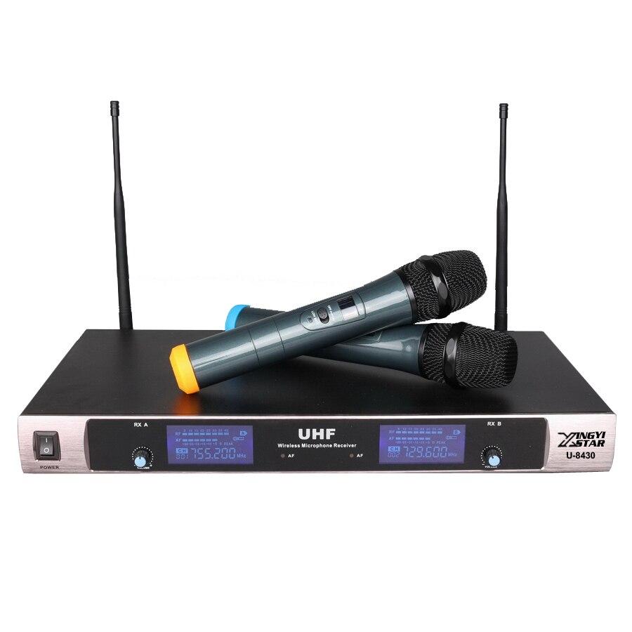 Frete Grátis Sistema de Microfone UHF Sem Fio Profissional Dupla Handheld Karaoke Microfone DJ KTV Microfone Sem Fio Com Receptor de 2 Canais