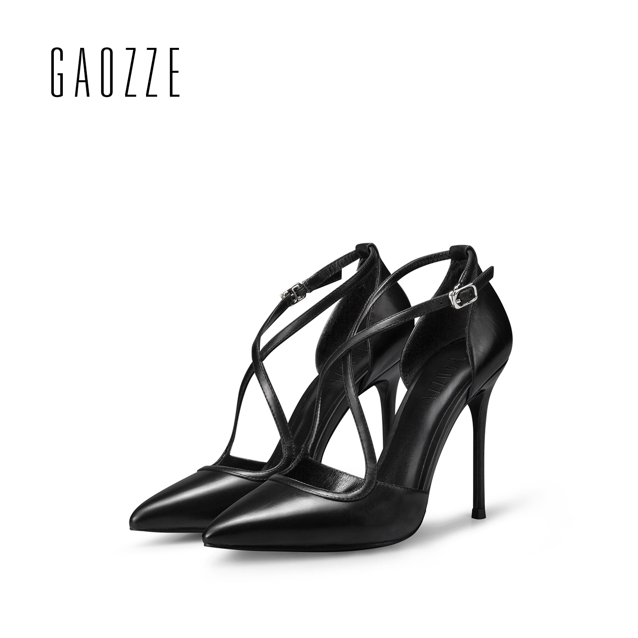 GAOZZE female high-heeled sandals cross straps leather sandals Black sexy high heels pumps pointed toe women shoes spring 2017 fashionable women s sandals with cross straps and pu leather design