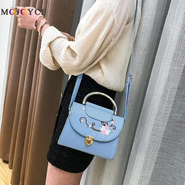 Women Flowers Embroidery PU Leather Top-Handle Bags Lady Sling Shoulder Messenger Bags Female Handbag 5