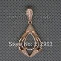 Vintage Diamond Pear Shape Pendant 8x12mm 14Kt Rose Gold Semi Mount Pendant, 14k Solid Gold Pendants  WP011