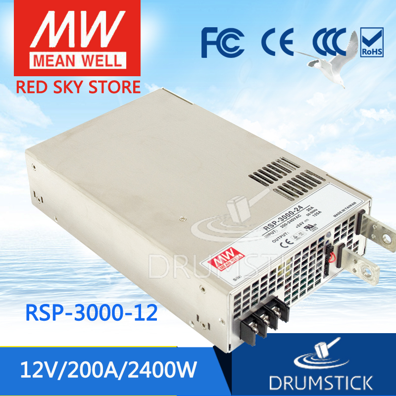 Selling Hot MEAN WELL RSP-3000-12 12V 200A meanwell RSP-3000 12V 2400W Single Output Power Supply selling hot mean well rsp 150 27 27v 5 6a meanwell rsp 150 27v 151 2w single output with pfc function power supply
