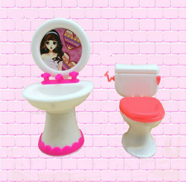 2 Items=Cute Doll Closestool+Washbasin Toilet Wash Devices Dollhouse Furniture Bathroom Set For  and  for Kelly dolls