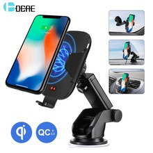 DCAE 10W Qi Wireless Charger Car Holder for iPhone XS Max XR X 8 Samsung S9 Automatic Clamping Mount Fast Charging Phone Stand