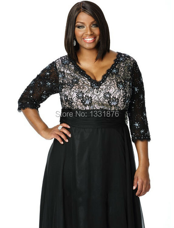 2016-Plus-Size-Mother-Of-The-Bride-Dresses-For-Weddings-Simple-Beach-Black-Chiffon-Deep-V (2)