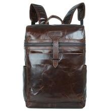 "Maxdo Vintage Coffee Real Skin Genuine Leather Men Backpacks Men Travel Bags 14"" Laptop Bag #M7342"