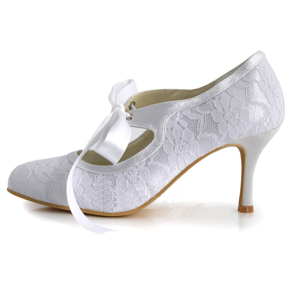 295f56c2dc43ab 3 inch marry janes lace wedding bridal high heel shoes lace up .