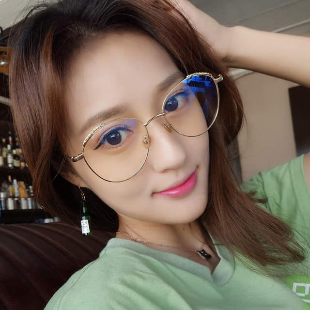 63ef60636b731 placeholder Kottdo Novas Pérolas de Moda Espetáculo Armação de óculos  Óculos Claros Mulheres Rosto Redondo Retro Do