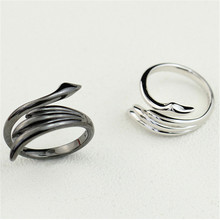 100% handmade black and white swan open  s925 sterling silver rings wedding jewelry for lovers