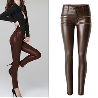New Fashion Women's Brown Low waist Elastic Pencil Pants Trousers Sexy Tight PU Coating imitate Leather Pants with Plus Size