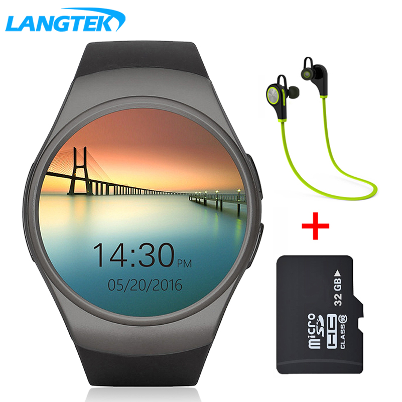 LANGTEK Smart Watch For Ios Android phone Support Multi languages  With Camera Bluetooth Smart Watch Pedometer SIM Card