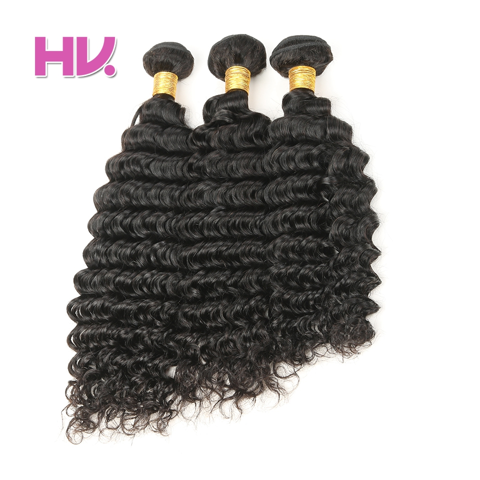 Hair Villa Pre-Colored Human Hair Weave Deep Wave Brazilian Hair 3 Bundles 8-26 Inches Non-Remy Hair #1B Natural Color