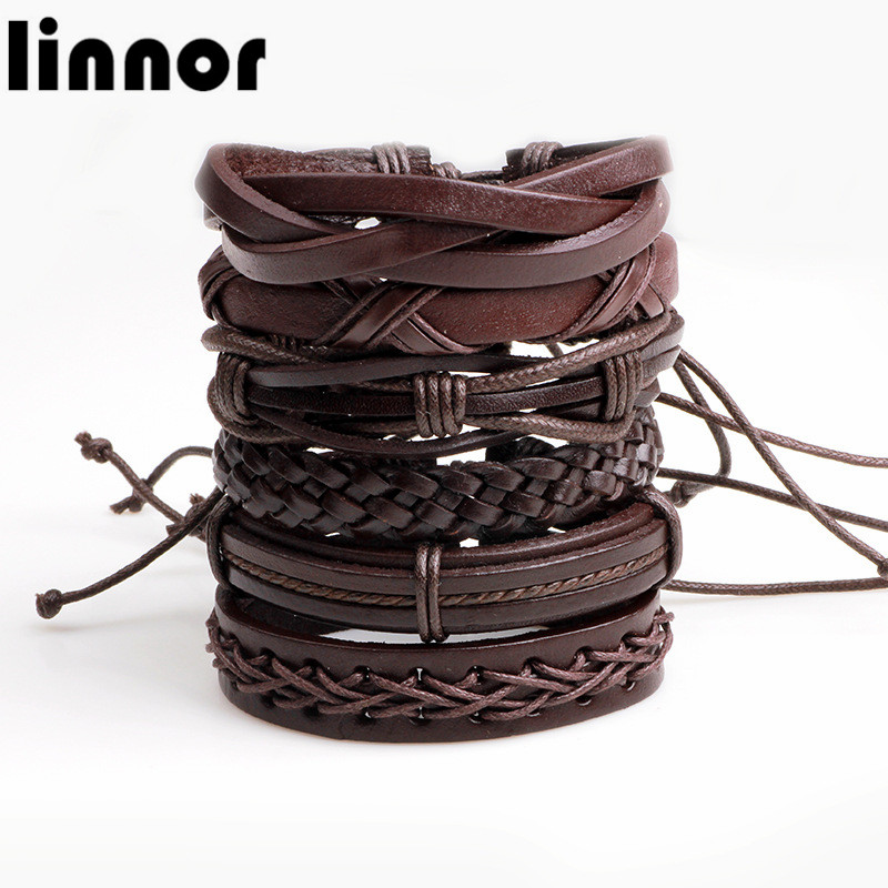 11 Stylers 6PCs/set Genuine Leather Bracelets Punk Casual