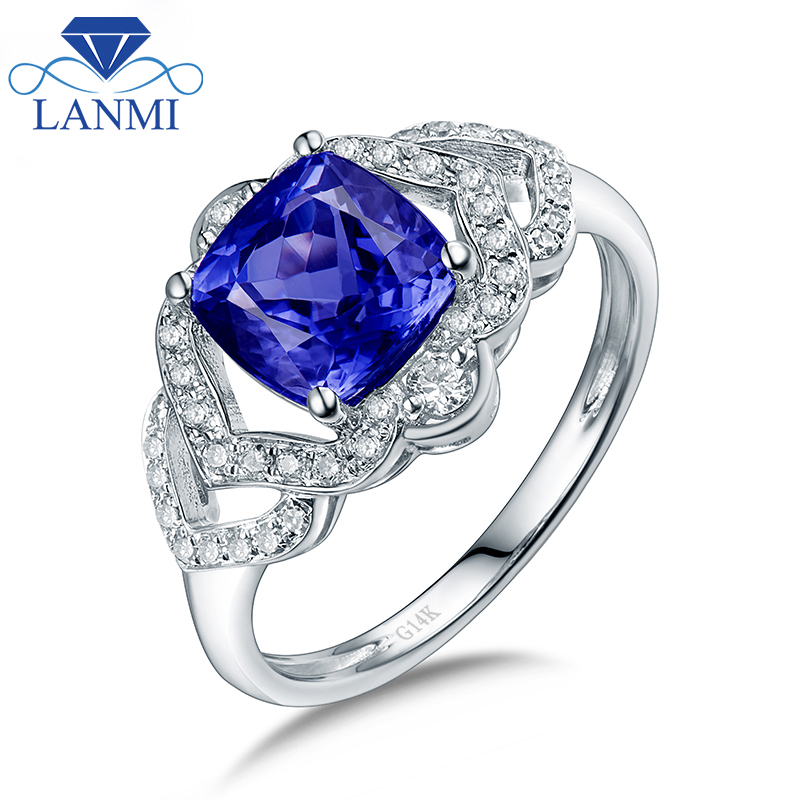 Solid 14Kt White Gold Natural Tanzanite Wedding Ring Good Gem Charming Dia for Husband Anniversary Fine Jewelry Gift