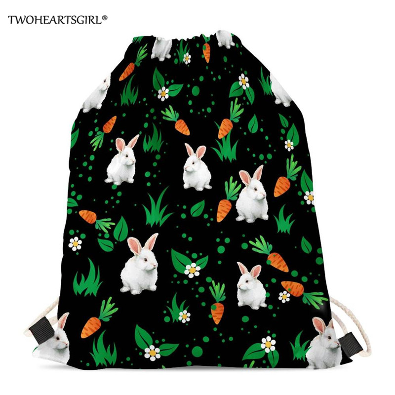 Persevering Twoheartsgirl Floral Rabbit Backpack Shopping Drawstring Bags Polyester Travel Beach Gym Shoes Sports Pack Shoulder Backpack Functional Bags