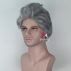 Image 2 - Miss U Hair peluca fiesta de Halloween para hombre, pelo sintético, gris, ondulado