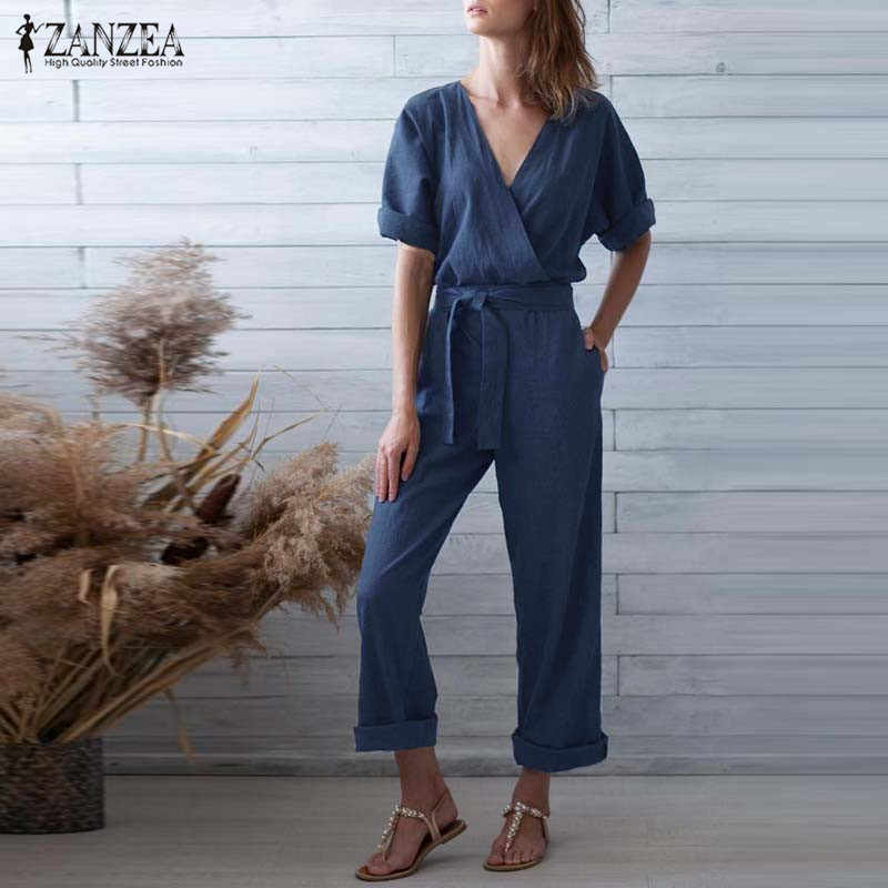 S 5XL ZANZEA Summer Jumpsuits Women Solid V Neck Short Sleeve Wide Leg Pants 2019 Elegant Work Long Overalls Playsuits Dungarees