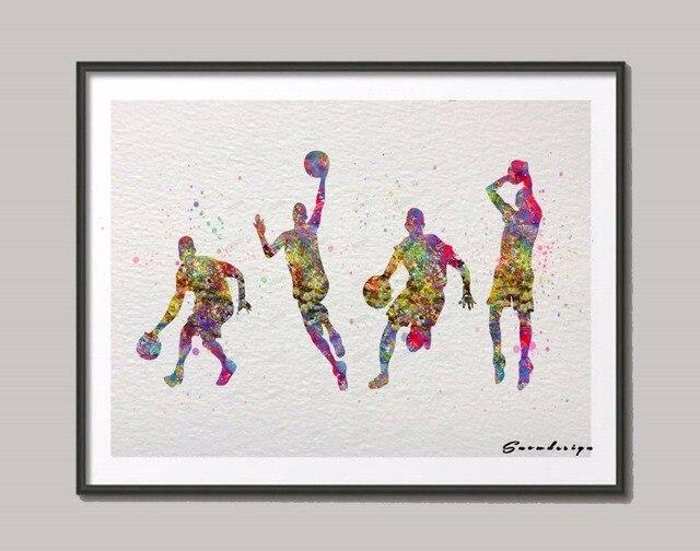 Aquarelle originale joueur de basket toile peinture for Peinture originale sur mur