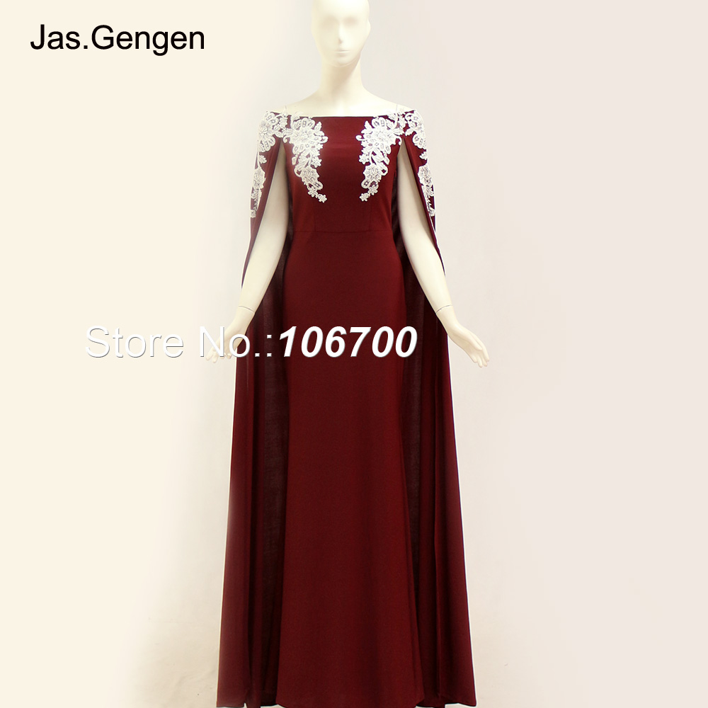 New Arabia Style Lace Cape Prom Dress Slveeless Embroidery Boat Neck Burgundy Long Jersey Evening Dresses 1125C 2018